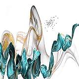 N / A Color Splash Blue Gold Canvas Oil Painting Poster y Unique Wall Art Decorativo Imagen de la Sala de Estar Dormitorio sin Marco 50x150cm