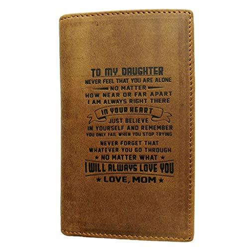 ATAYOU lederen voorvak portemonnee - aan mijn zoon en dochter minimalistische portefeuilles geschenk van papa ma kaart gevallen voor familie cadeau