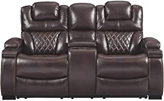 Signature Design by Ashley Warnerton Power Reclining Loveseat with Console, Chocolate