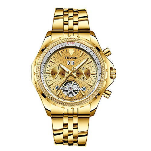 IPOTCH Moda Reloj Automático Mecánico Relojes de Negocios Hombres - Dorado