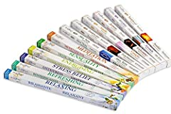 These are exact fragrance incense you will receive (NO SUBSTITUTION) : 1 Pack each of Meditation, Sensuality, Energising, Stress Relief, Refreshing, Relaxing, Sandalwood, Lavender, Jasmine, Vanilla, Frankincense, Aloe Vera. Total 12 Packs(12 Pack x 8...