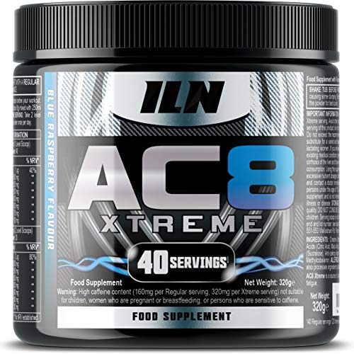 Iron Labs Nutrition AC8 Xtreme (Blue Raspberry) – Pre Workout Booster with Creatine, Beta-Alanine, Taurine and Caffeine – 40 regular servings (320 grams)