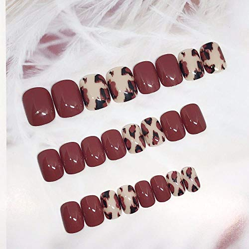 Beau style couleur unie imprimé léopard faux ongles 24 pcs dames plein ongles conseils mignon taille courte faux ongles mariée