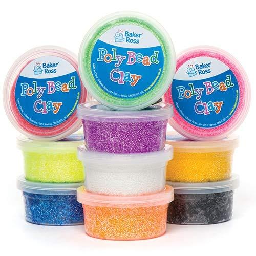 Baker Ross Poly Bead Clay Bumper Value Pack voor kinderen - ideaal knutselmateriaal (10 badkuipen)