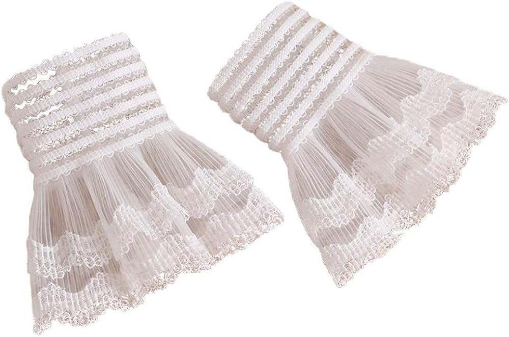 YAKEFJ Lolita Lace Cuffs Steampunk Wrist Cuff Bracelet for Wedding Party
