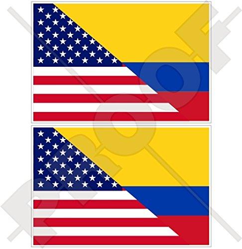 Lot de 2 autocollants pour pare-chocs en vinyle Motif drapeau américain et colombien 100 mm