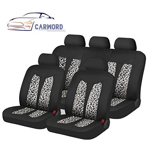 11PCS Tela de franela estampada de Leopardo Universal Cubiertas de asientos de coche con esponja compuesta de 5mm en el interior absorbente, antideslizante, lavable, para coches, SUVS y camiones