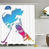 CHENHAO Cortina de Ducha Lavable Colorida Figura de Hombre Silueta de un Jugador de Hockey Atleta Eq...