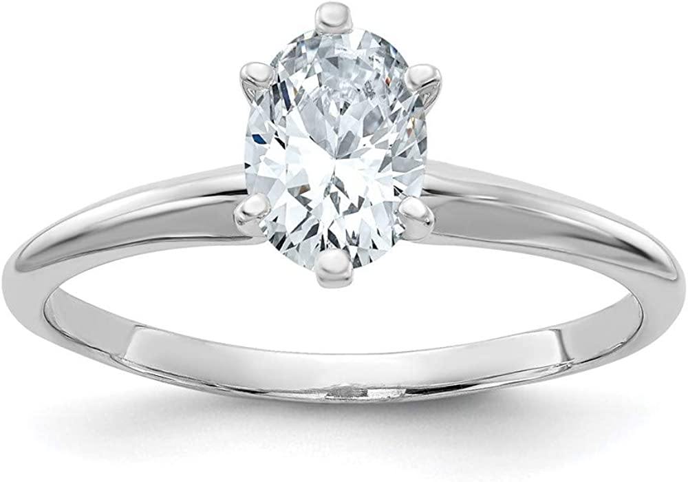14k White Gold 2ct. D E F Pure Oval Moissanite Solitaire Band Ring Size 8.00 Engagement Gsh Gshx Fine Jewelry For Women Gifts For Her