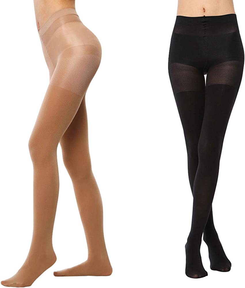 LASETA 2 Pairs Opaque Tights for Women Control Top High Waist Pantyhose