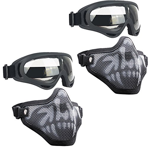 Infityle Airsoft Masks- Adjustable Half Metal Steel Mesh Face Mask and UV400 Goggles Set for Hunting, Paintball, Shooting (Black+Black, 2 Set)