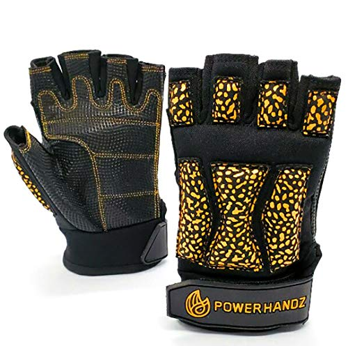 POWERHANDZ POWERFIT Weighted Training Gloves for Men and Women Weightlifting, Gym, Fitness Training -Fingerless, Non Slip, Gel Grip - XX-Large- 1.0 lb