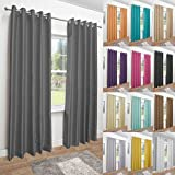 John Aird Faux Silk Fully Lined Eyelet Curtains (Grey, 229cm Width x 274cm Drop (90'x 108')