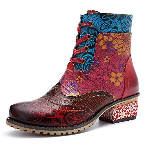 LEFT&RIGHT Damenleder Ankle Boots, Outdoor-Boots Schuhe Lady Block Heels Round Toe Ankle Boots Lace...