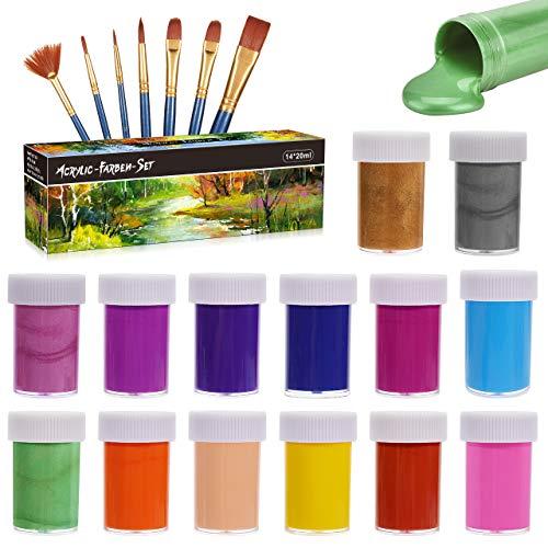 Gifort Acrylfarben Set, 14 Farb-Pigmenten je 20 ml, Acrylfarben auf Wasserbasis für Steine, Holz, Papier und Leinwand, Acryl Farben Set für Kinder, Erwachsene, Bastler, Profis