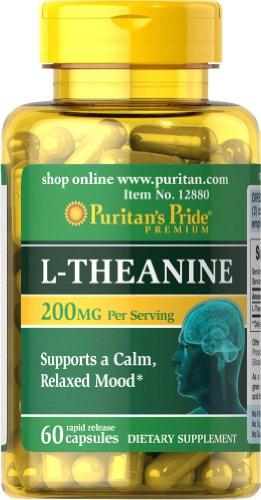 Puritan's Pride L-Theanine, 60 Capsules, 30 Servings, 200mg Per Serving