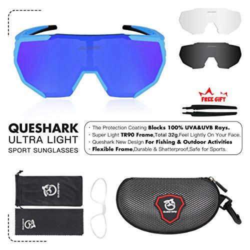 Queshark Radbrille Polarisierte Sportbrille Fahrradbrille mit UV-Schutz 3 Wechselgläser für Herren Damen, für Outdooraktivitäten wie Radfahren Laufen Klettern Autofahren Angeln Golf (Blau) - 6