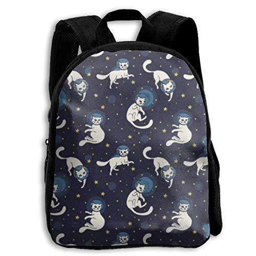Kinder-Büchertasche, langlebig, lustig, für die Schule, lässiger Tagesrucksack, Reisen, Outdoor-Rucksäcke – Cosmic Cat Astronauten schwebender Platz