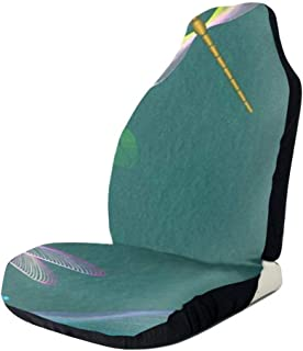 GZtaowen Universal Car Seat Covers,Colorful Cute Vehicle Seat Protector Car Mat Covers,Non Slip Backing Fit Cars, Sedan, Truck, SUV, Van(Dragonfly Flower L )