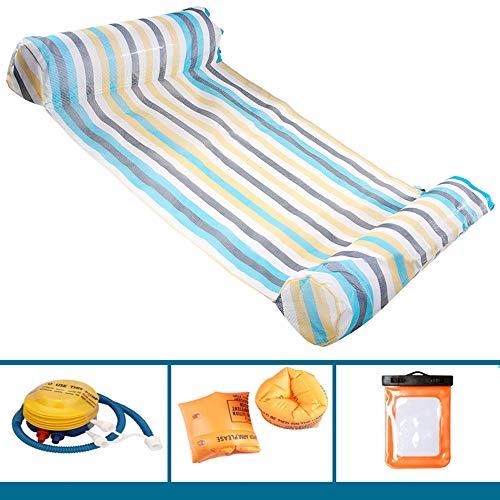 OFAY Wasserhängematte, Schwimmbadliege Schwimmhängematte Aufblasbares Floß Schwimmbadliege Luft Leichte Schwimmstuhlliege Für Erwachsene/Kinder Bunt,Blau,B