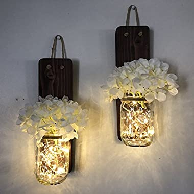 Tennessee Wicks Rustic Mason Jar Wall Sconce Set of Two, Complete with Two Hydrangeas and Two LED Fairy Light Strands