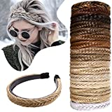 Braided Headband With Teeth Fishtail Braids Hairband With Tooth Synthetic Braids Hair Band Plaited Hairband Hair Hoop Braid Headband Extensions Blonde Headband Hairpiece For Women 48g #26/613