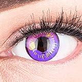 Meralens Lenti a Contatto Colorate Sharingan Viola Circle Lenses Heroes Of Cosplay - con porta lenti a contatto - ideali per Manga Anime Halloween – Durata 1 Anno - 1 Coppia senza correzione