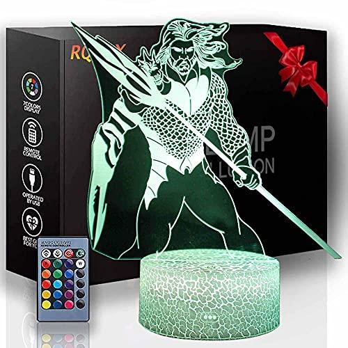 Luz de noche para niños Super Hero 3D lámpara de luz 16 colores cambiando con control remoto, cumpleaños y vacaciones un regalo para niños niñas