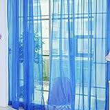 Cortina de tul, ventana de gasa para dormitorios, con bolsillo para varilla, decoración del hogar, cenefas transparentes, panel con bufanda para interiores, azul oscuro, Tamaño libre