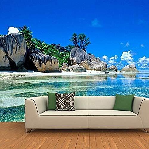 XHXI Benutzerdefinierte Wandbild 3D Wallpaper Natürliche Landschaft Seaside Stones und Seaside Home Decor für Wohnzimmer Sofa Tv H fototapete 3d Tapete effekt Vlies wandbild Schlafzimmer-200cm×140cm