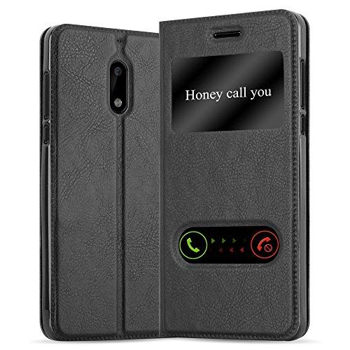 Cadorabo Custodia Libro per Nokia 6 2017 in Nero COMETA - con Funzione Stand e Chiusura Magnetica - Portafoglio Cover Case Wallet Book Etui Protezione
