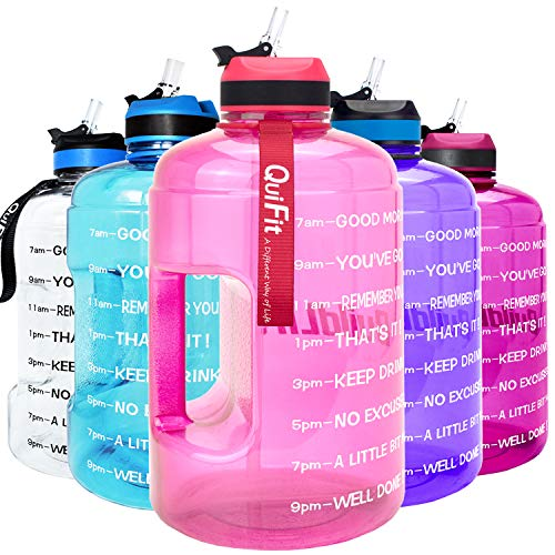 with Straw /& Time Marker BPA Free Large Reusable Sport Water Jug with Handle for Fitness Outdoor Enthusiasts Leak-Proof QuiFit Motivational Gallon Water Bottle