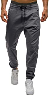 Men Pants Daoroka Men's Casual Plus Size Long Tether Elastic Solid Jogger Slacks Athletic Running Trousers