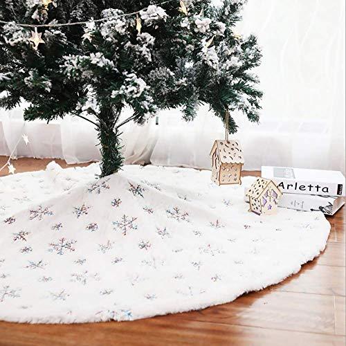 NIKKY HOME Falda de árbol de Navidad blanca Adornos navideños con lentejuelas de copo de nieve 122 x 122 cm