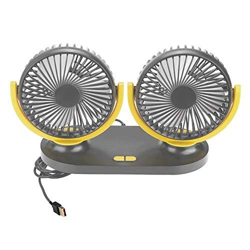 EBTOOLS Car Fan Air USB Car Fan Portable Air Conditioner Auto Cooler Ventilation 12V, Dual Head (Black Yellow)