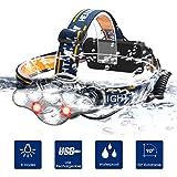 Chenci Lampe Frontal LED ,8 Modes Lampe Frontale USB Rechargeable Torche 12000 Lumin,IPX4 Étanche,Lampe Frontal Torche pour Pêche, Camping, Lecture, Randonnée, Cyclisme