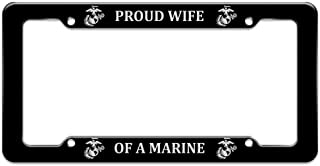 Graphics and More Proud Wife of a Marine USMC White Logo on Black Officially Licensed License Plate Tag Frame