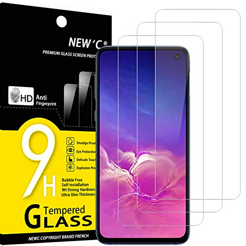NEW'C Lot de 3, Verre Trempé Compatible avec Samsung Galaxy S10e, Film Protection écran Ultra Résistant (0,33mm HD Ultra Transparent) Dureté 9H Glass