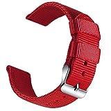OLLREAR Nylon Correa Reloj Lienzo Correa Relojes Militar del ejército - 13 Colors & 4 Sizes - 18mm, 20mm, 22mm, 24mm (22mm, Red)