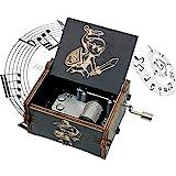 Zelda Wooden Music Box, Hand Crank Wood Legend of Zelda Theme Musical Boxes, Antique Engraved Carved Crafts Gift for Wedding, Valentines, Christmas, Birthday(Black)