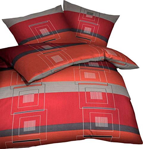 Kaeppel Biber Bettwäsche Quartetto Chili Rot Grau Anthrazit Karos, Größe:240x220cm Bettwäsche