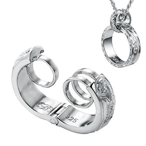 リングホルダー 指輪をネックレスに シルバー925 ハワイアンジュエリー メンズ レディース リング用 ペンダント チェーン別売り ハワイアン彫りタイプ SP303