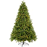 Best Choice Products 7.5ft Pre-Lit Douglas Fir Christmas Tree Holiday Decoration with Realistic Feel w/ 8 Light Sequences, Foot Switch, 1912 Tips, Easy Assembly, Metal Hinges & Base