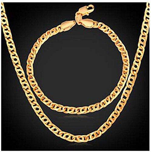 GYJUN Retro Helix Ketting Armband 18K Echt Goud vergulde Mode Mens Gouden Ketting Ketting Sieraden Set