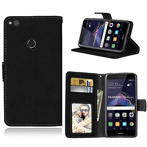 Funda Huawei P8 Lite 2017/Honor 8 Lite/P9 Lite 2017,Bookstyle 3 Card Slot PU Cuero Cartera para TPU Silicone Case Cover(Negro)