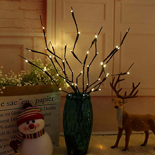 3 Pack Warm White Lighted Twig Branches, 60 LED Lights Artificial Tree Willow Branches Lamp for Home Holiday Party Decoration Battery Operated