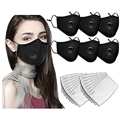 Face Bandanas with Breathing valve + Activated Carbon Filter Replaceable Haze Dust Face Health Protection for Adults (6pcs + 12 Filter, Black) from HoweNel