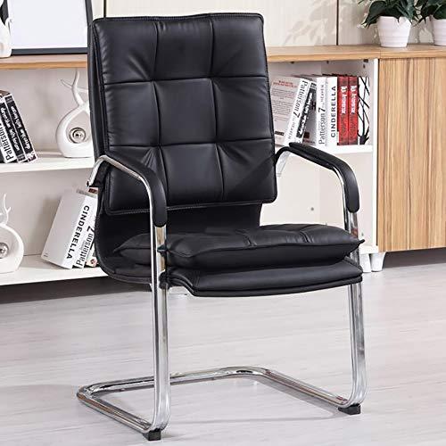 YGB Freischwinger mit Armlehne Konferenzstuhl mit Hochwertiger Polsterung und Kunstlederbezug Besprechungsstuhl im Modernen Look Bis zu 200 kg Belastbar(Brown), Black