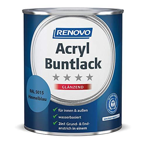 Acryl-Buntlack 2-in-1 750 ml RAL 5015 Himmelblau glänzend Renovo