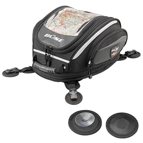 Büse Tankrucksack - Motorradtasche / Magneten (für Metall) oder Saugnäpfen, Artikelfarbe:schwarz